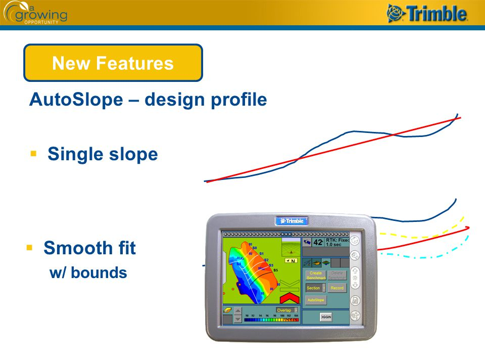 AutoSlope – design profile  Single slope  Smooth fit w/ bounds New Features