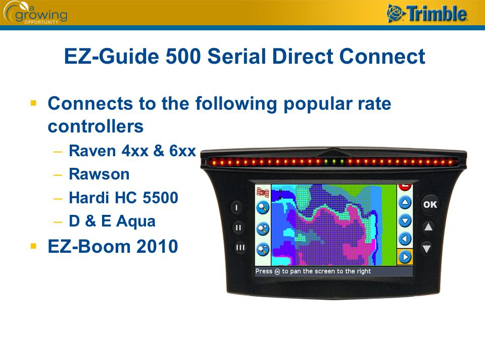 EZ-Guide 500 Serial Direct Connect  Connects to the following popular rate controllers –Raven 4xx & 6xx –Rawson –Hardi HC 5500 –D & E Aqua  EZ-Boom 2010