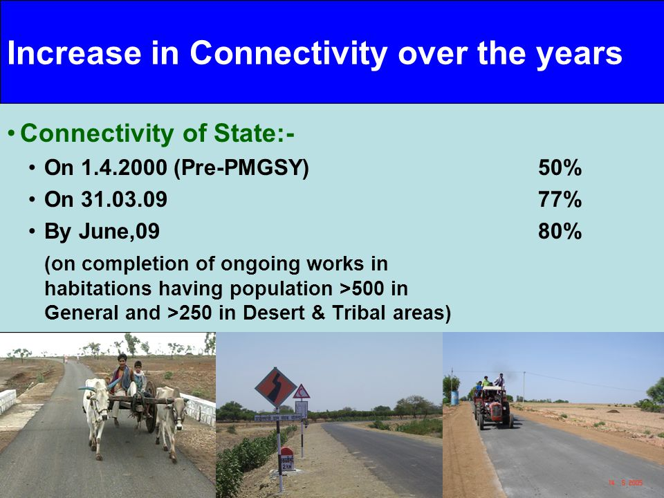 10/27 10 Increase in Connectivity over the years Connectivity of State:- On 1.4.2000 (Pre-PMGSY) 50% On 31.03.0977% By June,0980% (on completion of on