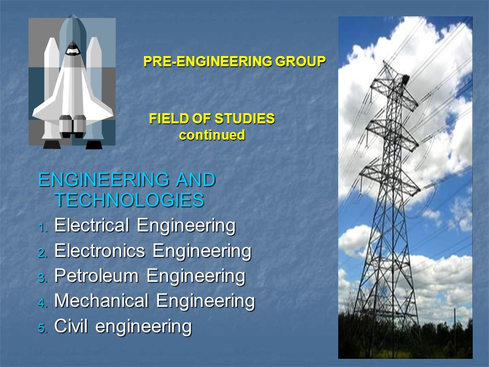 FIELD OF STUDIES (continued) ENGINEERING AND TECHNOLOGIES (continued) 6.