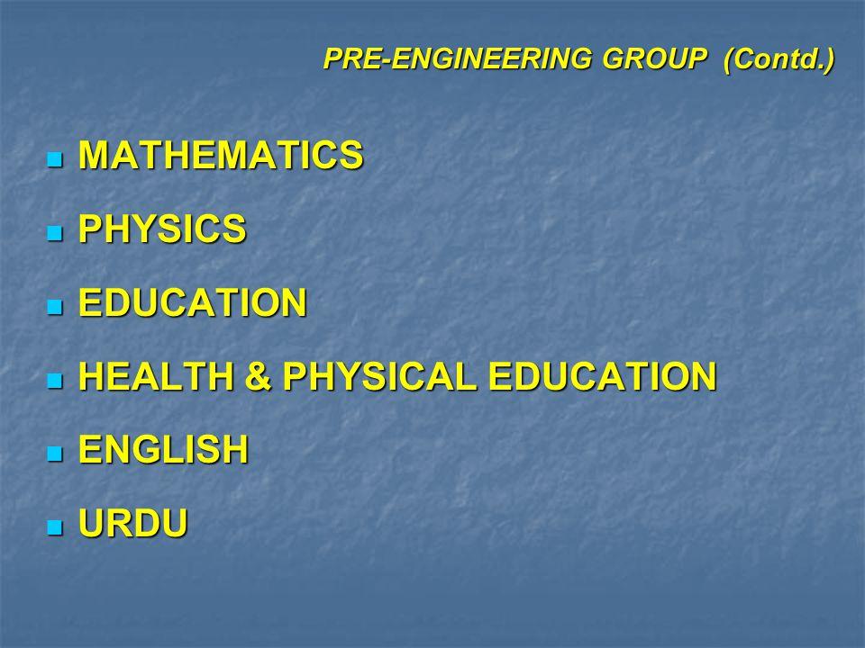 FIELD OF STUDIES continued PUNJAB 1.