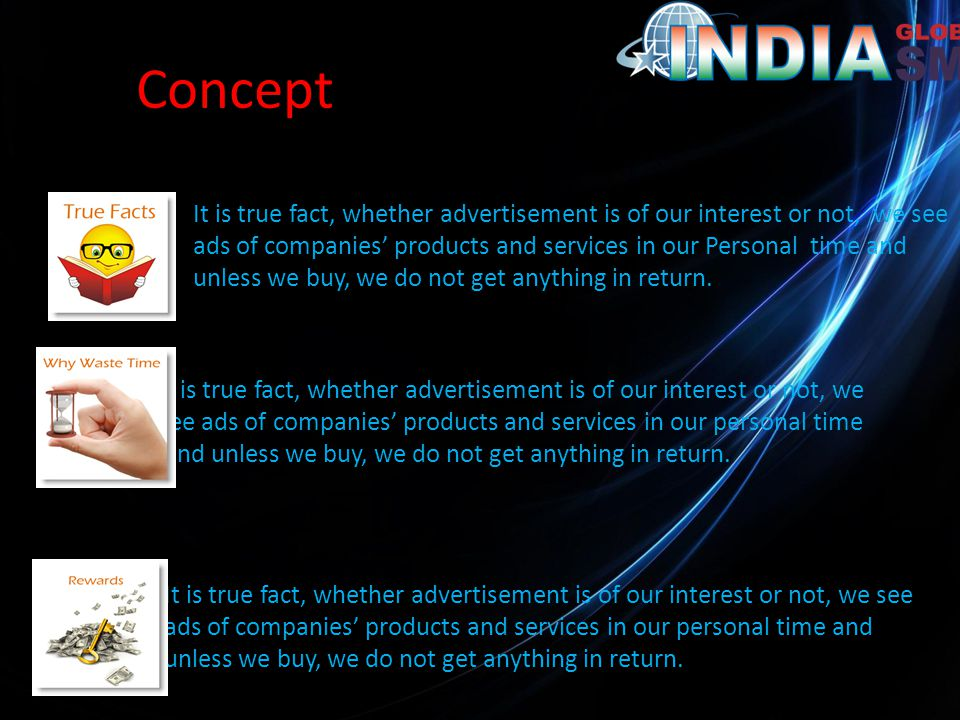 Concept It is true fact, whether advertisement is of our interest or not, we see ads of companies' products and services in our Personal time and unless we buy, we do not get anything in return.