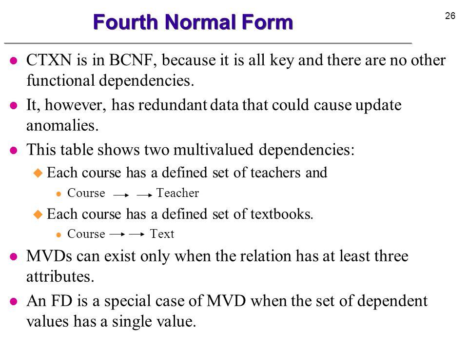 27 Fourth Normal Form l Tables in 4NF CT CourseTeacher PhysicsGreen PhysicsBrown MathWhite CX CourseText PhysicsBasic Mechanics PhysicsIntro to Optics MathModern Algebra MathIntro to Calculus