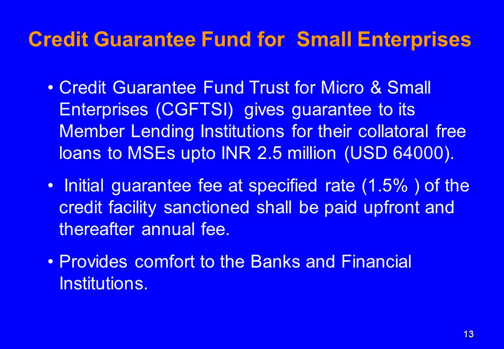 13 Credit Guarantee Fund for Small Enterprises Credit Guarantee Fund Trust for Micro & Small Enterprises (CGFTSI) gives guarantee to its Member Lending Institutions for their collatoral free loans to MSEs upto INR 2.5 million (USD 64000).