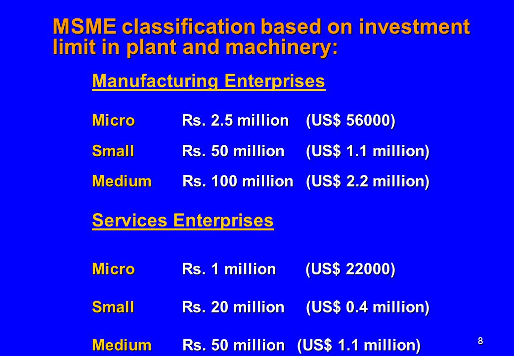 8 Manufacturing Enterprises Micro Rs. 2.5 million (US$ 56000) Small Rs.
