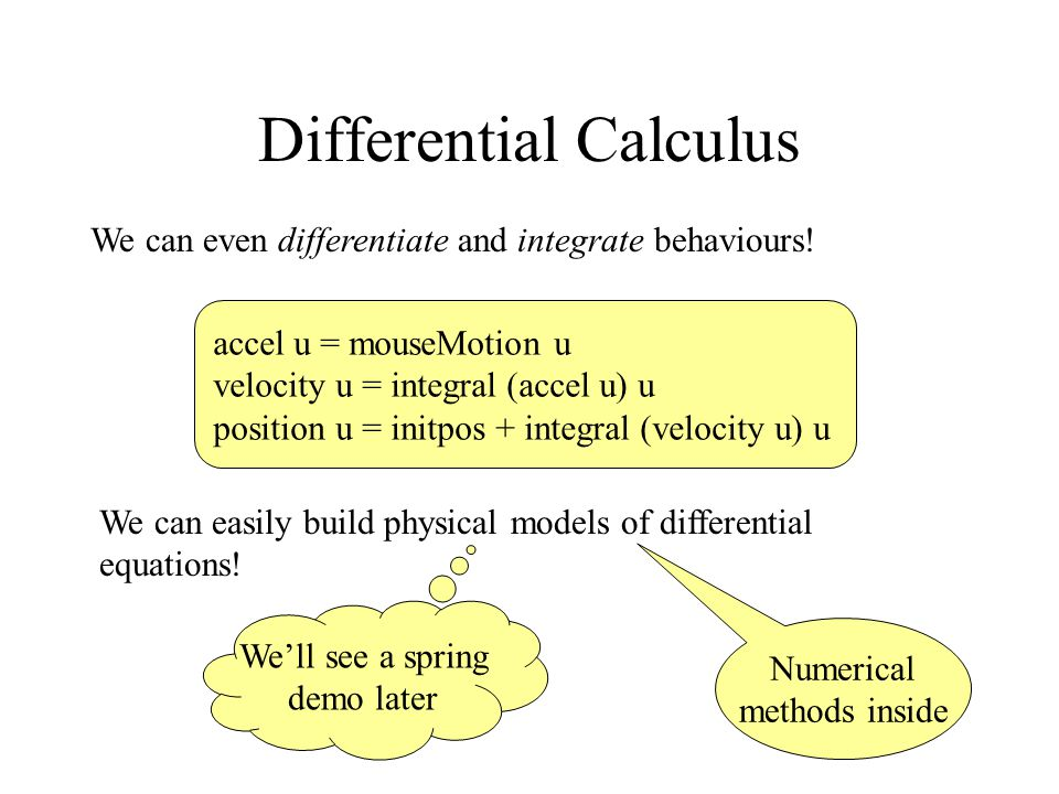 Differential Calculus We can even differentiate and integrate behaviours.