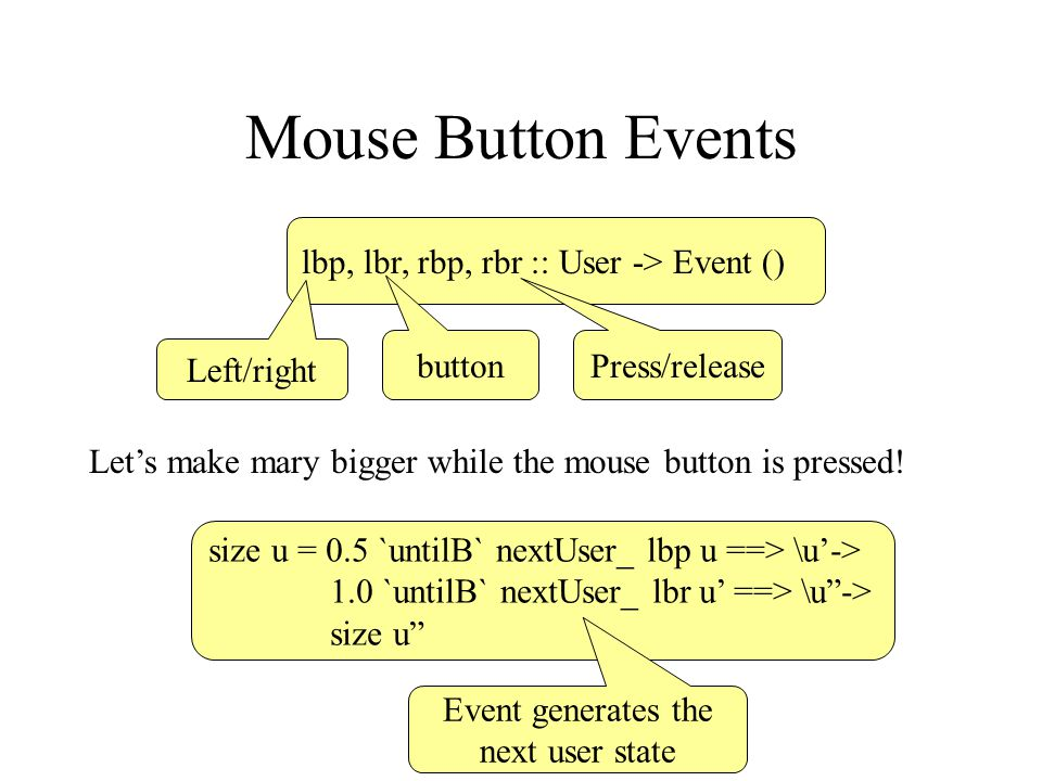 Mouse Button Events lbp, lbr, rbp, rbr :: User -> Event () Left/right button Press/release Let's make mary bigger while the mouse button is pressed! s