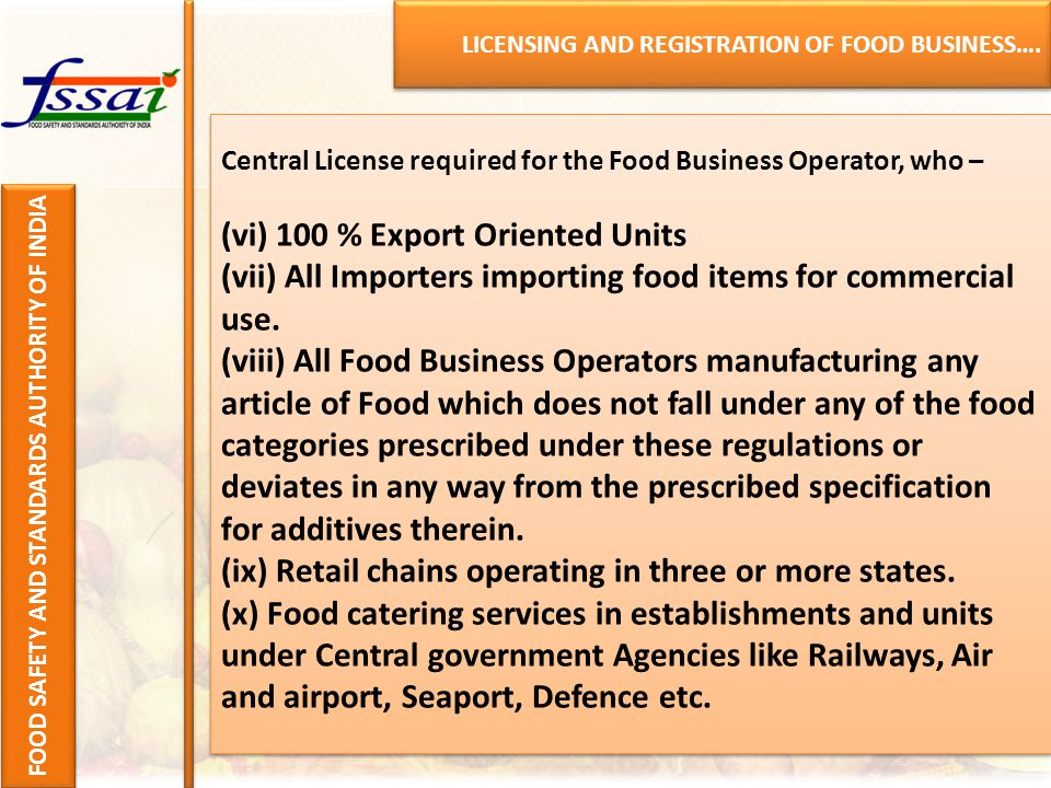 LICENSING AND REGISTRATION OF FOOD BUSINESS….