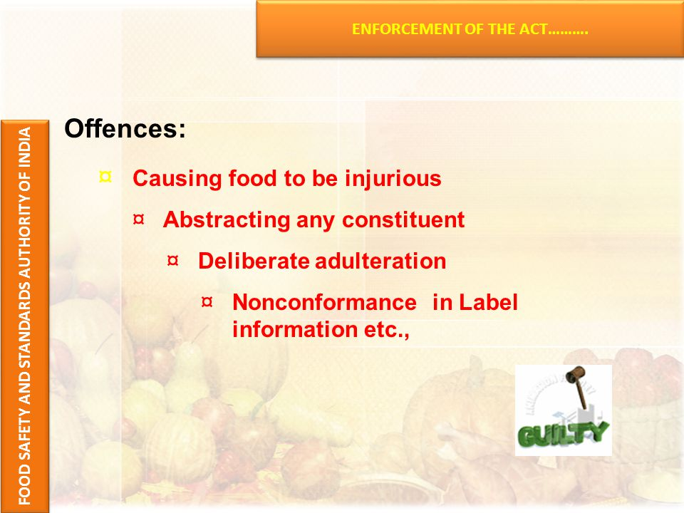 ENFORCEMENT OF THE ACT……….