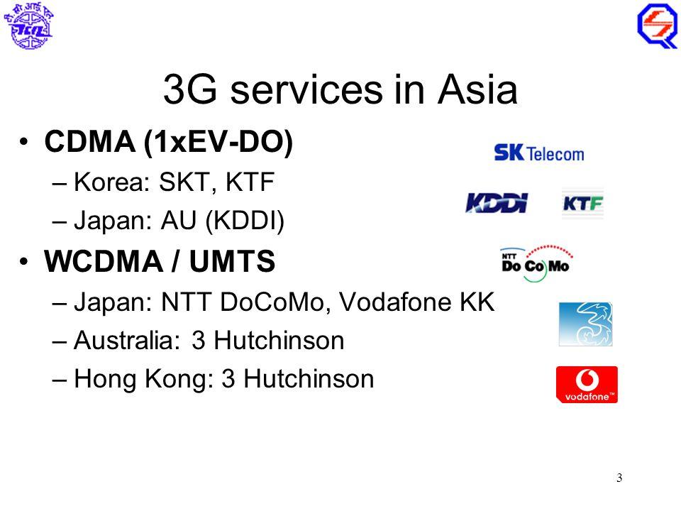 3 3G services in Asia CDMA (1xEV-DO) –Korea: SKT, KTF –Japan: AU (KDDI) WCDMA / UMTS –Japan: NTT DoCoMo, Vodafone KK –Australia: 3 Hutchinson –Hong Kong: 3 Hutchinson