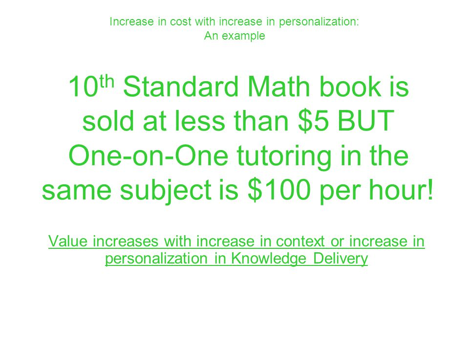 10 th Standard Math book is sold at less than $5 BUT One-on-One tutoring in the same subject is $100 per hour! Value increases with increase in contex