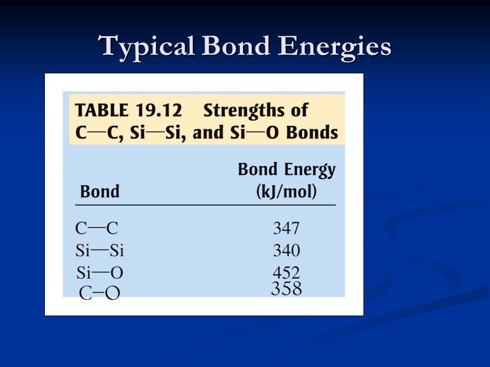 Typical Bond Energies C−OC−O 358