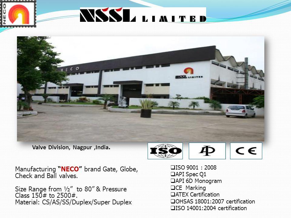 Manufacturing NECO brand Gate, Globe, Check and Ball valves.