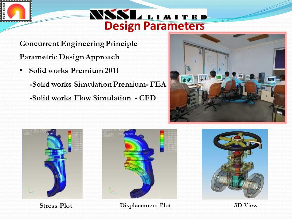 Concurrent Engineering Principle Parametric Design Approach Solid works Premium 2011 -Solid works Simulation Premium- FEA -Solid works Flow Simulation - CFD Design Parameters Stress Plot Displacement Plot3D View