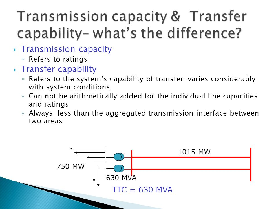 Transmission capacity ◦ Refers to ratings  Transfer capability ◦ Refers to the system's capability of transfer-varies considerably with system conditions ◦ Can not be arithmetically added for the individual line capacities and ratings ◦ Always less than the aggregated transmission interface between two areas 750 MW 630 MVA 1015 MW TTC = 630 MVA