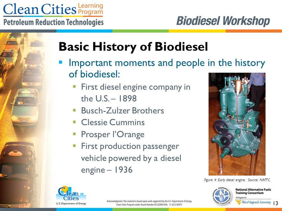 13  Important moments and people in the history of biodiesel:  First diesel engine company in the U.S.