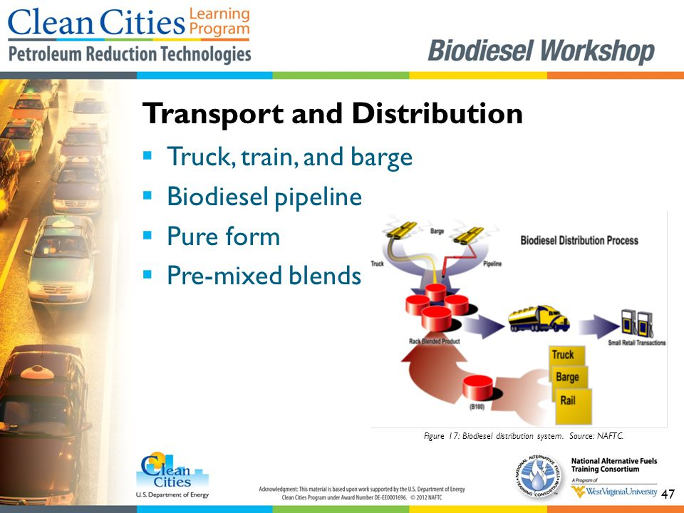 47  Truck, train, and barge  Biodiesel pipeline  Pure form  Pre-mixed blends Transport and Distribution Figure 17: Biodiesel distribution system.