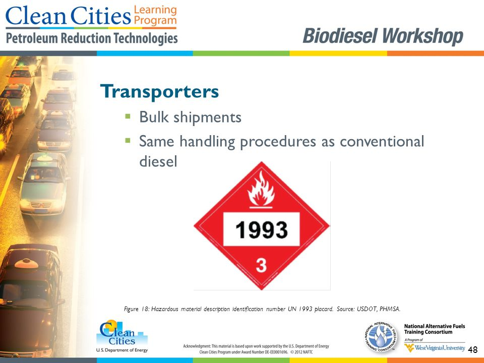 48 Transporters  Bulk shipments  Same handling procedures as conventional diesel Figure 18: Hazardous material description identification number UN