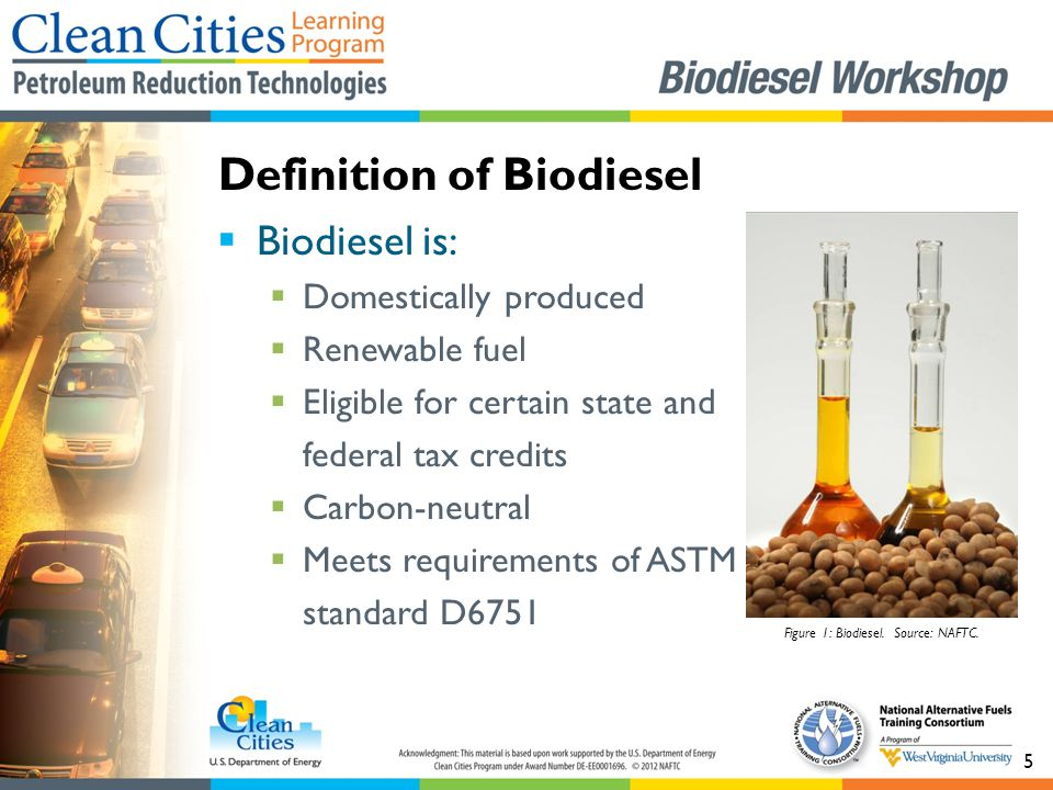 5  Biodiesel is:  Domestically produced  Renewable fuel  Eligible for certain state and federal tax credits  Carbon-neutral  Meets requirements of ASTM standard D6751 Definition of Biodiesel Figure 1: Biodiesel.