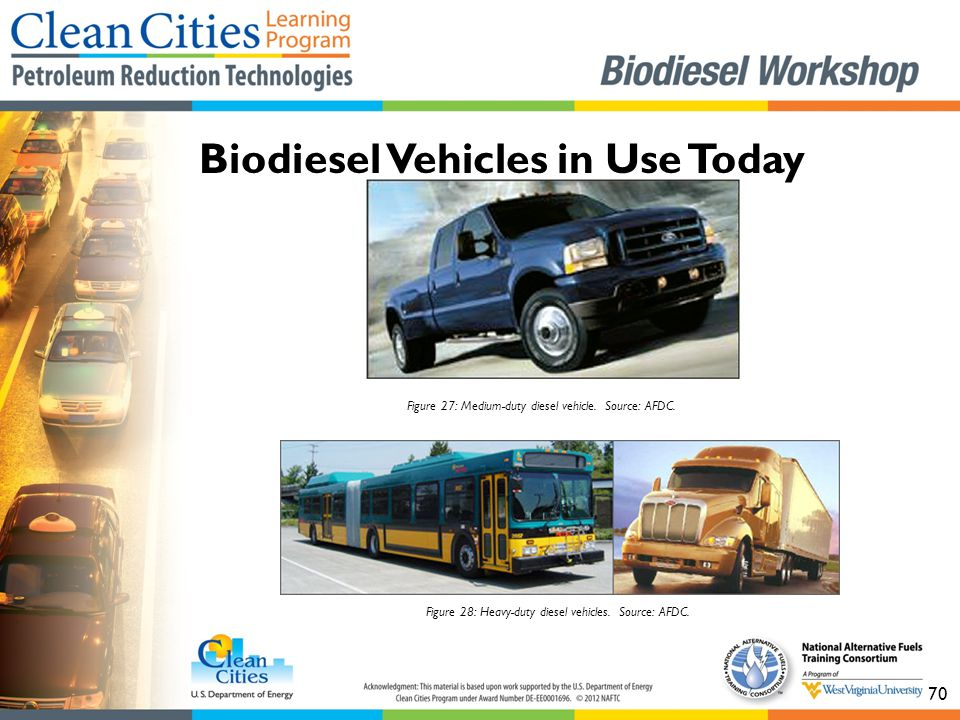 70 Biodiesel Vehicles in Use Today Figure 28: Heavy-duty diesel vehicles. Source: AFDC. Figure 27: Medium-duty diesel vehicle. Source: AFDC.