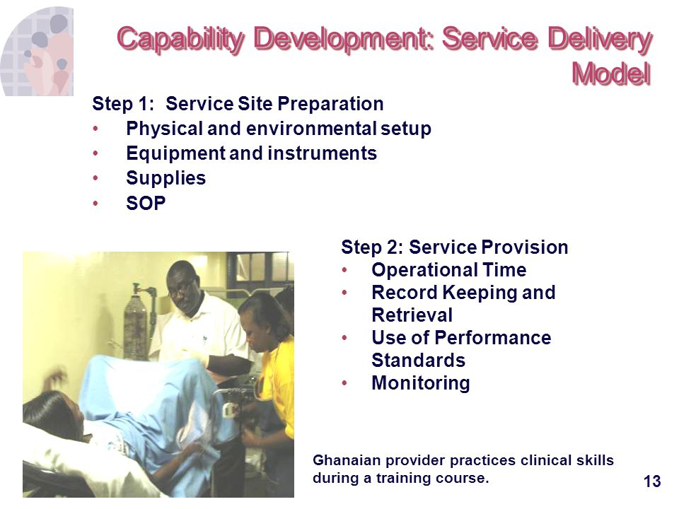 13 Capability Development: Service Delivery Model Step 1: Service Site Preparation Physical and environmental setup Equipment and instruments Supplies