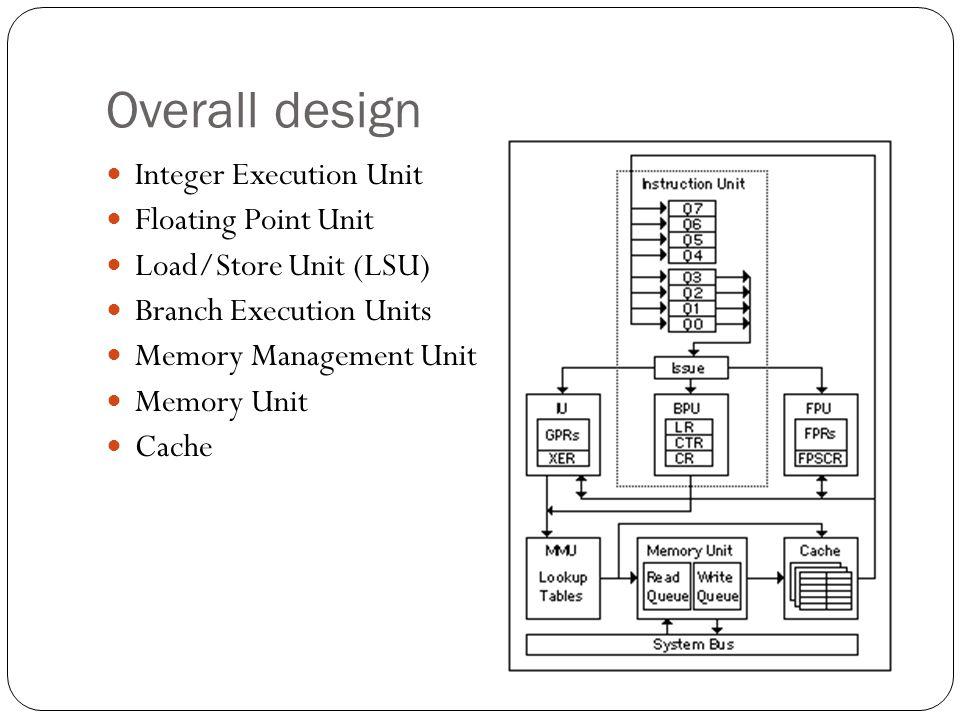 Overall design Integer Execution Unit Floating Point Unit Load/Store Unit (LSU) Branch Execution Units Memory Management Unit Memory Unit Cache