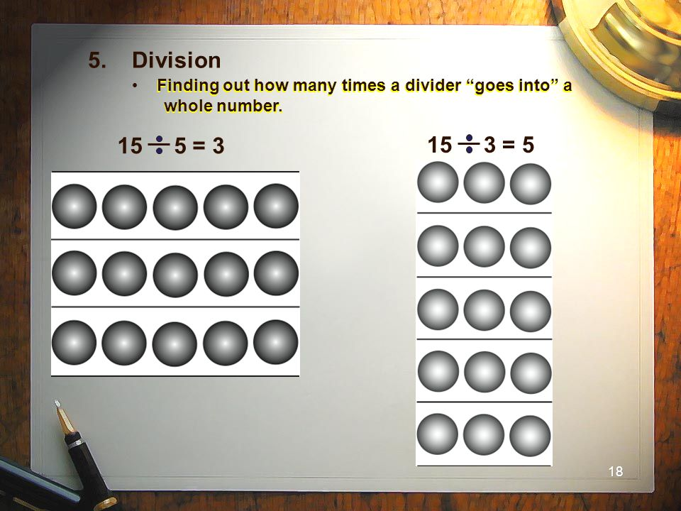 """18 Finding out how many times a divider """"goes into"""" a whole number. 5. Division 15 5 = 3 15 3 = 5"""