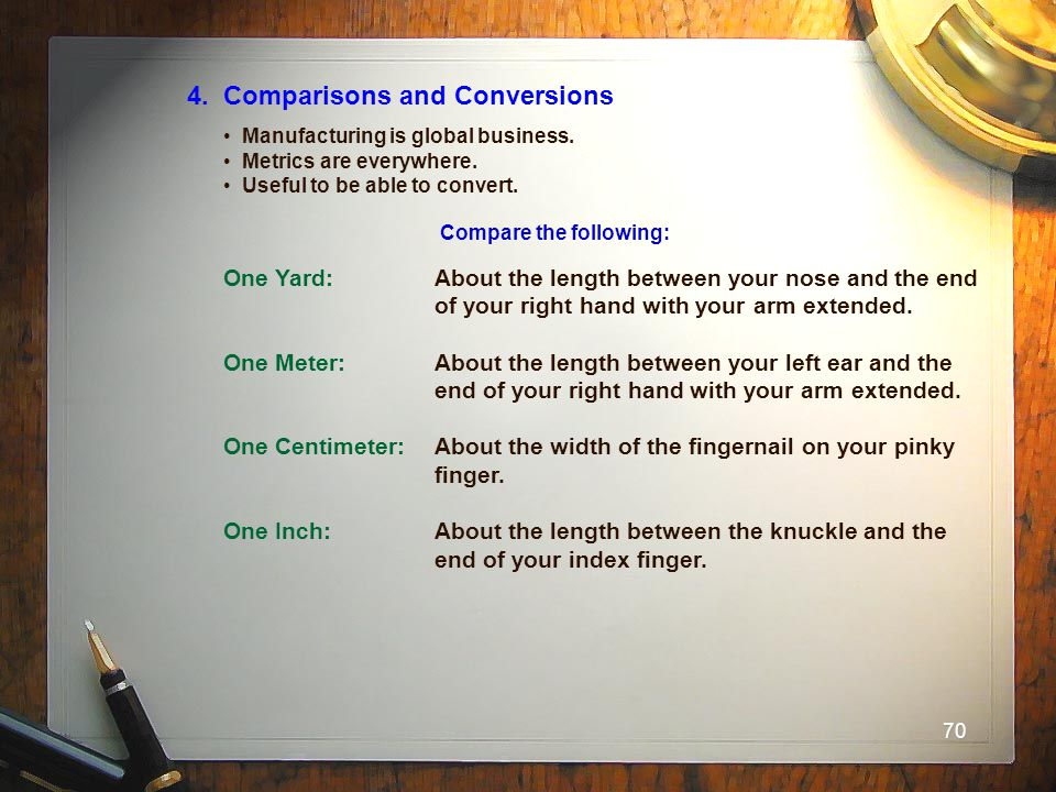 70 4. Comparisons and Conversions Manufacturing is global business. Metrics are everywhere. Useful to be able to convert. Compare the following: One Y