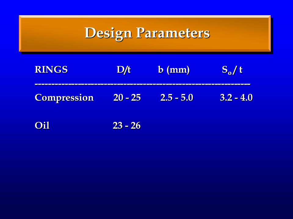 Design Parameters RINGS D/t b (mm) S o / t ------------------------------------------------------------------ Compression 20 - 25 2.5 - 5.0 3.2 - 4.0 Oil 23 - 26