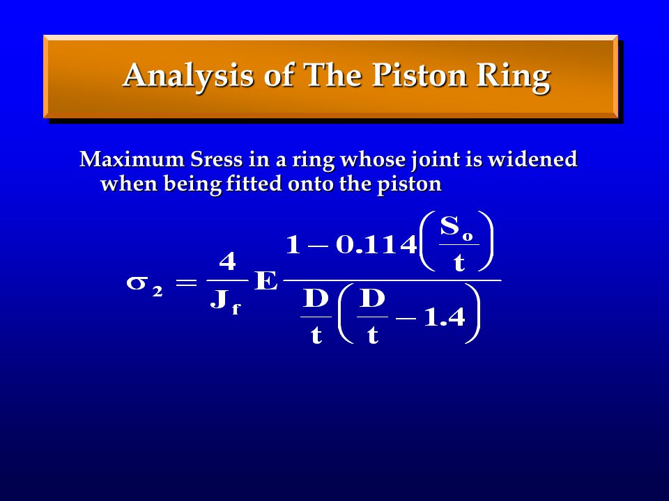 Analysis of The Piston Ring Maximum Sress in a ring whose joint is widened when being fitted onto the piston