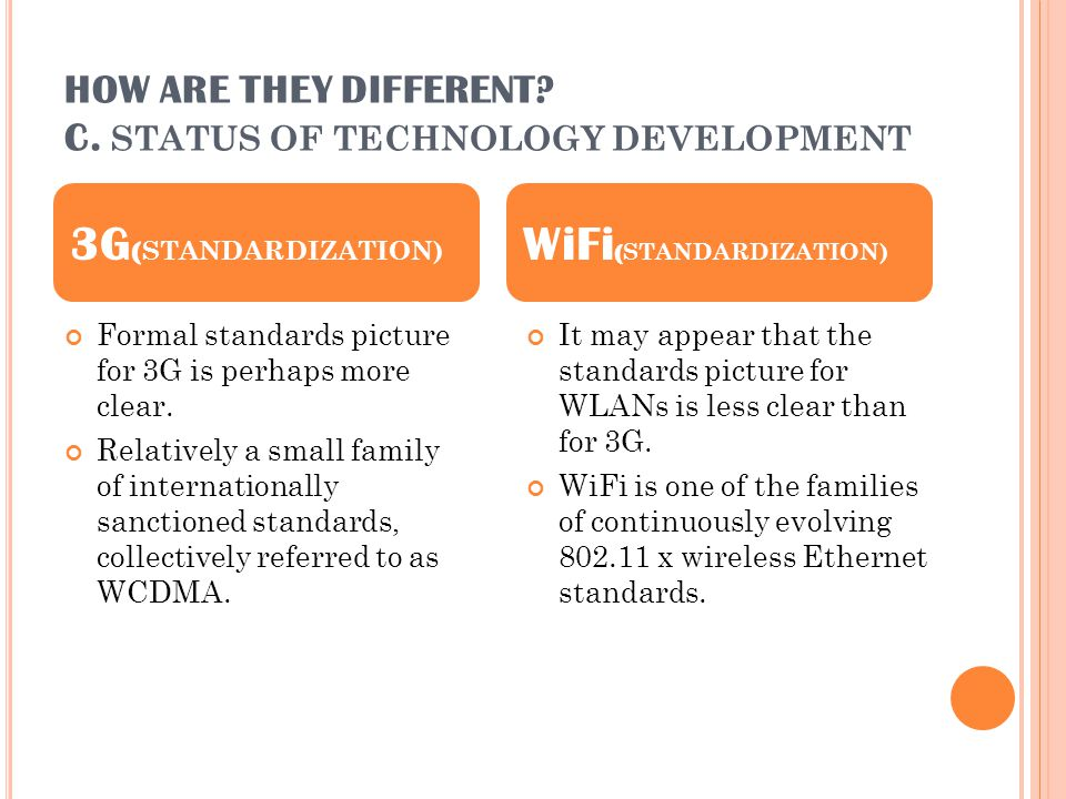 HOW ARE THEY DIFFERENT? C. STATUS OF TECHNOLOGY DEVELOPMENT Formal standards picture for 3G is perhaps more clear. Relatively a small family of intern