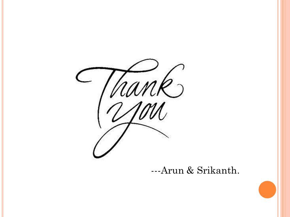 -------- ---Arun & Srikanth.