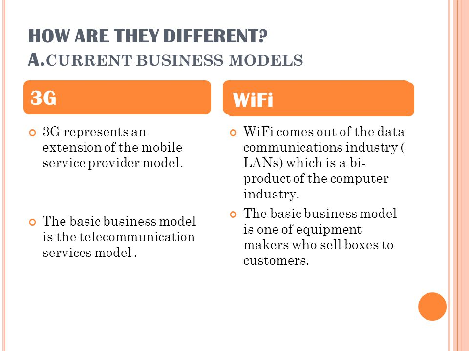 HOW ARE THEY DIFFERENT? A. CURRENT BUSINESS MODELS 3G represents an extension of the mobile service provider model. The basic business model is the te