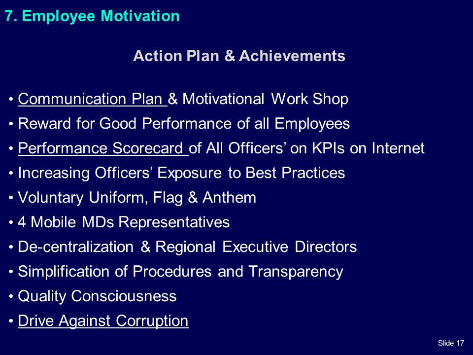 Slide 17 7. Employee Motivation Communication Plan & Motivational Work ShopCommunication Plan Reward for Good Performance of all Employees Performance
