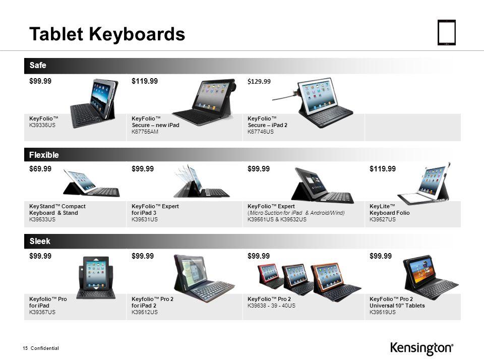 15 Confidential Safe $99.99$119.99 $129.99 KeyFolio™ K39336US KeyFolio™ Secure – new iPad K67755AM KeyFolio™ Secure – iPad 2 K67746US Flexible $69.99$99.99 $119.99 KeyStand™ Compact Keyboard & Stand K39533US KeyFolio™ Expert for iPad 3 K39531US KeyFolio™ Expert (Micro Suction for iPad & Android/Wind) K39561US & K39532US KeyLite™ Keyboard Folio K39527US Sleek $99.99 Keyfolio™ Pro for iPad K39357US Keyfolio™ Pro 2 for iPad 2 K39512US KeyFolio™ Pro 2 K39638 - 39 - 40US KeyFolio™ Pro 2 Universal 10 Tablets K39519US Tablet Keyboards