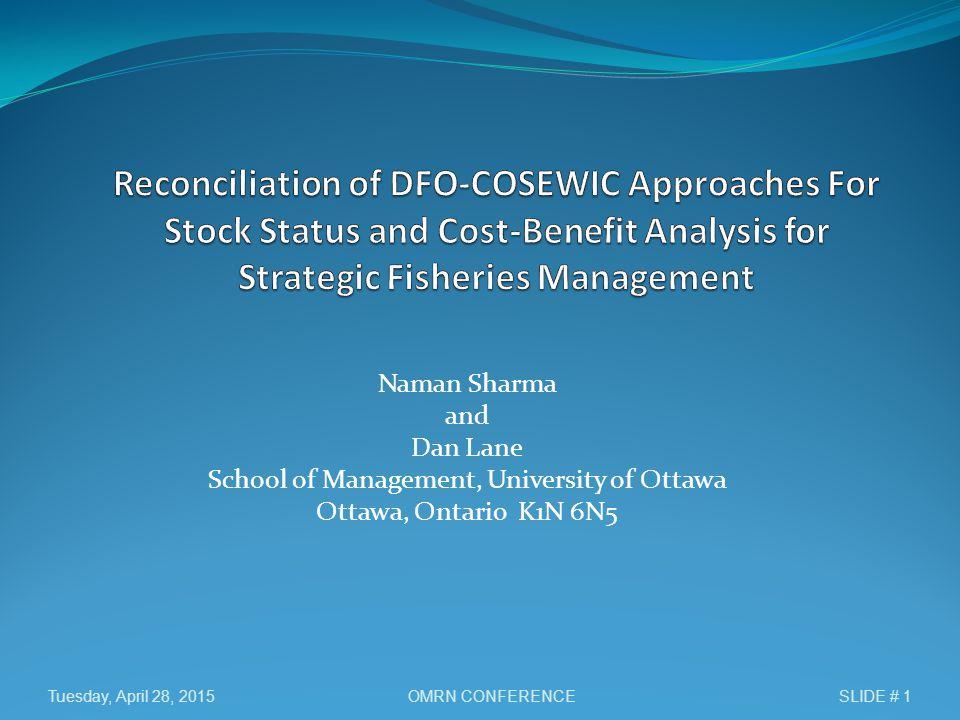 Naman Sharma and Dan Lane School of Management, University of Ottawa Ottawa, Ontario K1N 6N5 Tuesday, April 28, 2015SLIDE # 1OMRN CONFERENCE