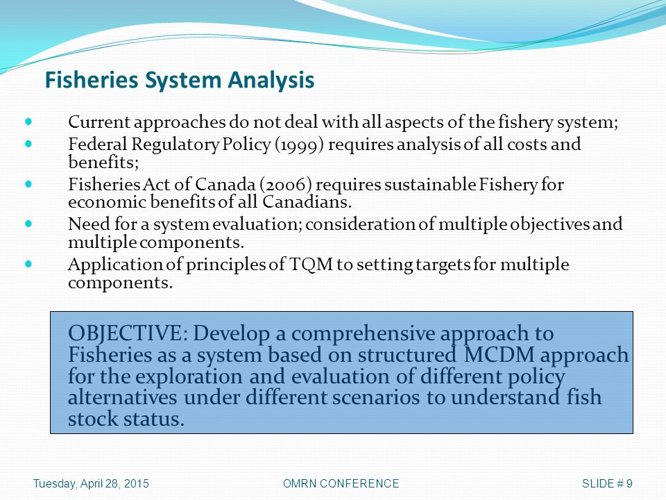 Fisheries System Analysis Current approaches do not deal with all aspects of the fishery system; Federal Regulatory Policy (1999) requires analysis of
