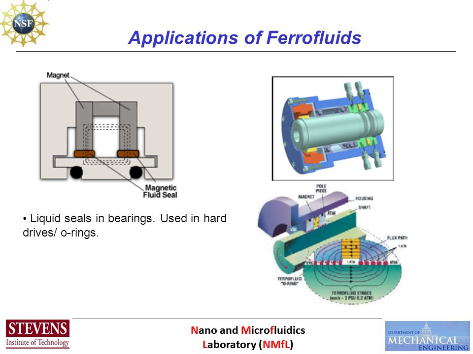 Applications of Ferrofluids Liquid seals in bearings. Used in hard drives/ o-rings.