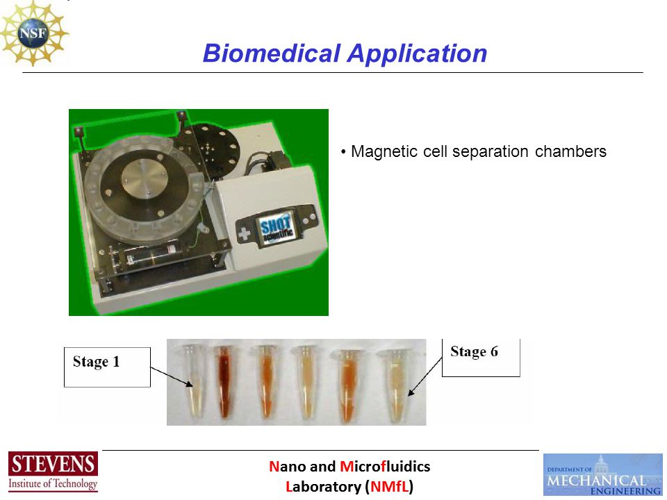Nano and Microfluidics Laboratory (NMfL) Biomedical Application Magnetic cell separation chambers