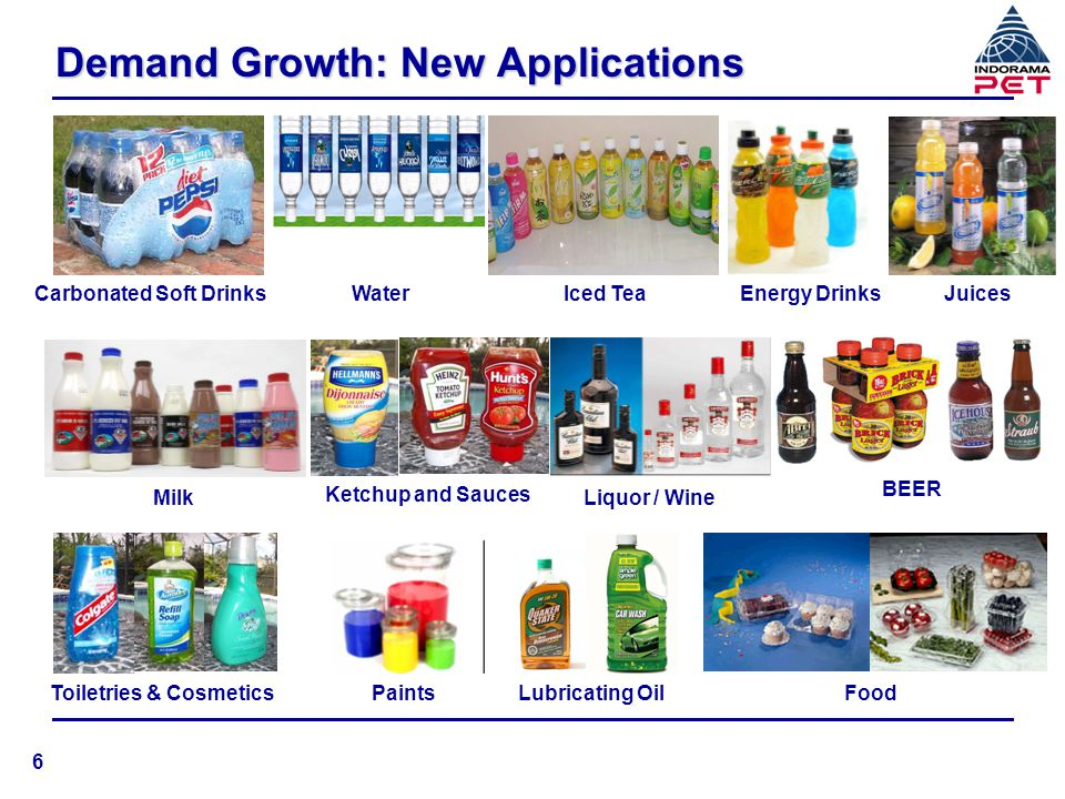 PET: Demand Growth and Per Capita n Demand growing by 1 million tons per annum n World per capita consumption is 1.7 kilos per annum n Higher per capita consumption in North America (8 kilos) and West Europe (5 kilos), still growing at 7-8% per annum Global demand of 12.3 million tons, growing at 8-10% p.a.