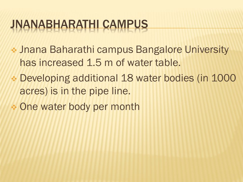  Jnana Baharathi campus Bangalore University has increased 1.5 m of water table.