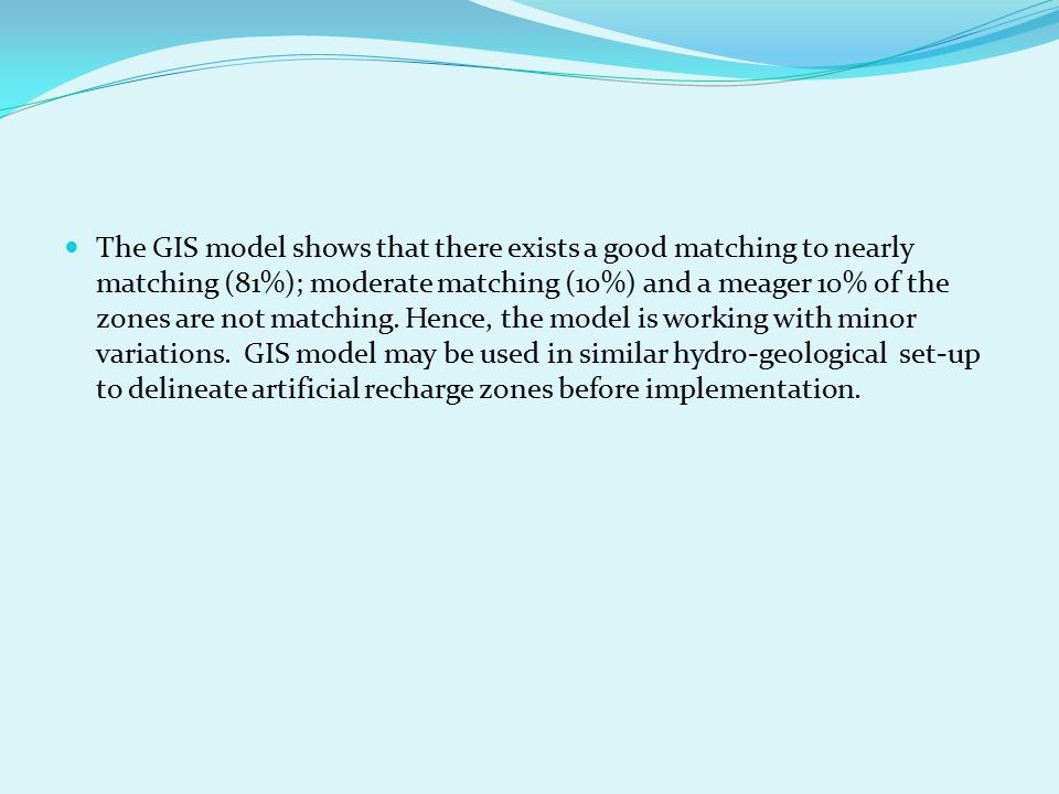 The GIS model shows that there exists a good matching to nearly matching (81%); moderate matching (10%) and a meager 10% of the zones are not matching.