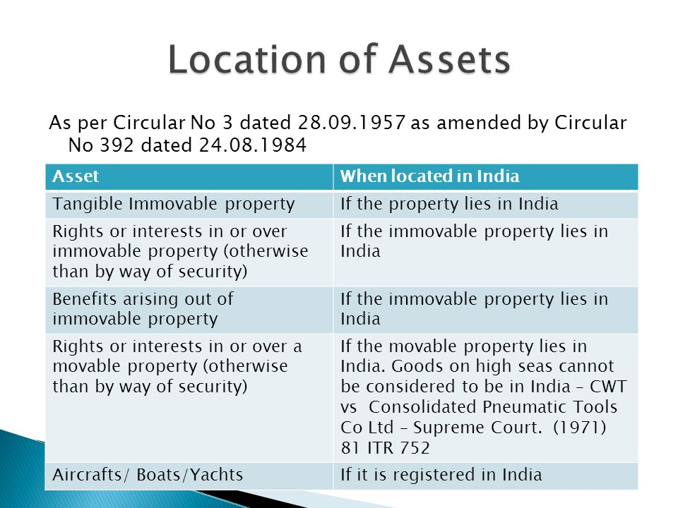 As per Circular No 3 dated 28.09.1957 as amended by Circular No 392 dated 24.08.1984 AssetWhen located in India Tangible Immovable propertyIf the property lies in India Rights or interests in or over immovable property (otherwise than by way of security) If the immovable property lies in India Benefits arising out of immovable property If the immovable property lies in India Rights or interests in or over a movable property (otherwise than by way of security) If the movable property lies in India.