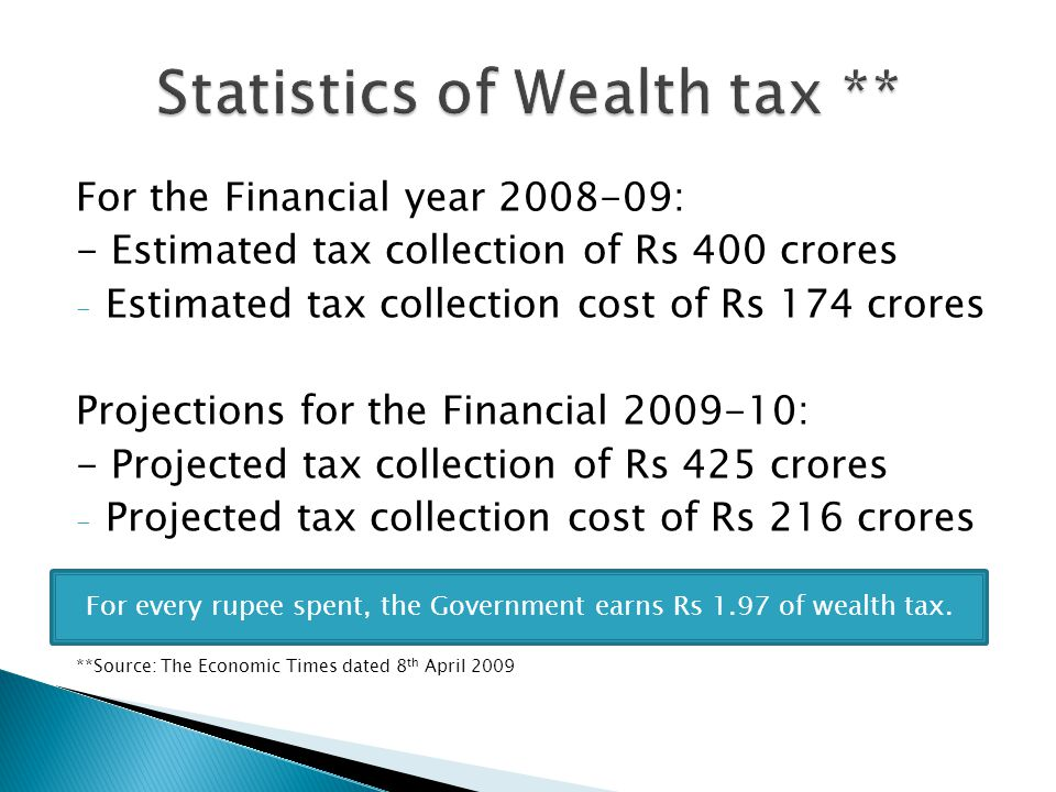 For the Financial year 2008-09: - Estimated tax collection of Rs 400 crores - Estimated tax collection cost of Rs 174 crores Projections for the Financial 2009-10: - Projected tax collection of Rs 425 crores - Projected tax collection cost of Rs 216 crores **Source: The Economic Times dated 8 th April 2009 For every rupee spent, the Government earns Rs 1.97 of wealth tax.