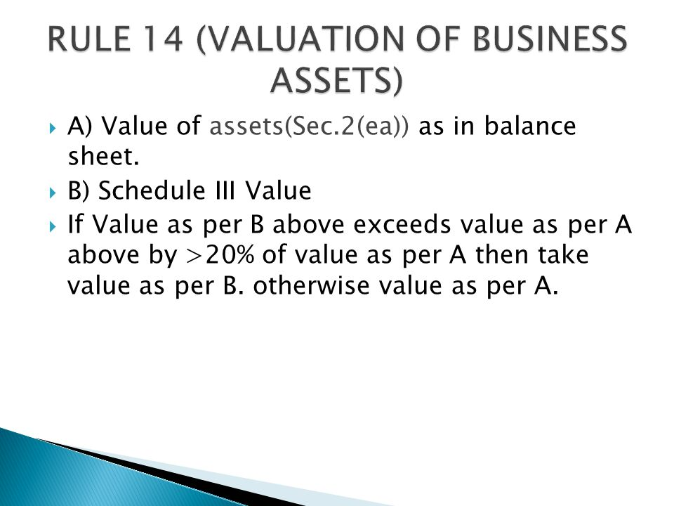  A) Value of assets(Sec.2(ea)) as in balance sheet.