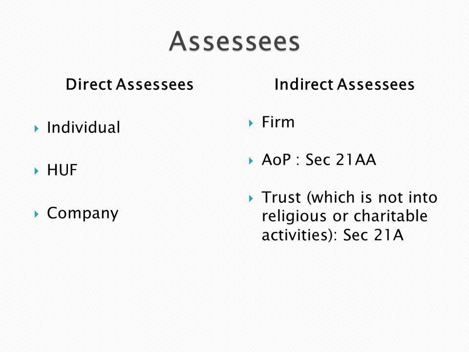 Direct Assessees  Individual  HUF  Company Indirect Assessees  Firm  AoP : Sec 21AA  Trust (which is not into religious or charitable activities): Sec 21A