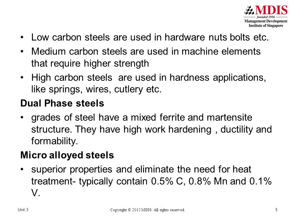 Stainless Steels primarily corrosion resistant, high strength, and ductile with high Cr content Chromium oxide coat that protects the rest of the material in presence of Oxygen (passivation) As carbon content rises, their corrosion resistance drops- carbon bonds with the chromium preventing the passivation Austenitic steels (200 and 300 series)- Cr, Ni and Mn in Iron, they are non magnetic Ferritic Steels ( 400 series)- Cr content upto 27%.