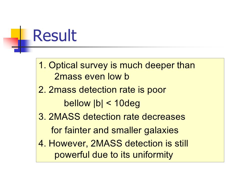 Result 1. Optical survey is much deeper than 2mass even low b 2. 2mass detection rate is poor bellow |b| < 10deg 3. 2MASS detection rate decreases for