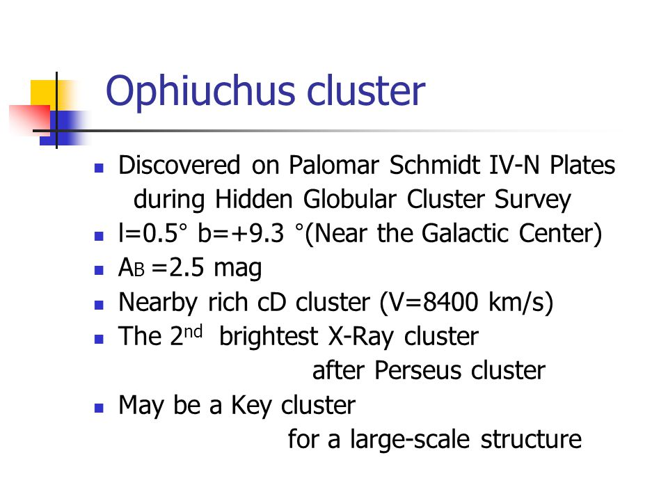 Discovered on Palomar Schmidt IV-N Plates during Hidden Globular Cluster Survey l=0.5° b=+9.3 °(Near the Galactic Center) A B =2.5 mag Nearby rich cD cluster (V=8400 km/s) The 2 nd brightest X-Ray cluster after Perseus cluster May be a Key cluster for a large-scale structure