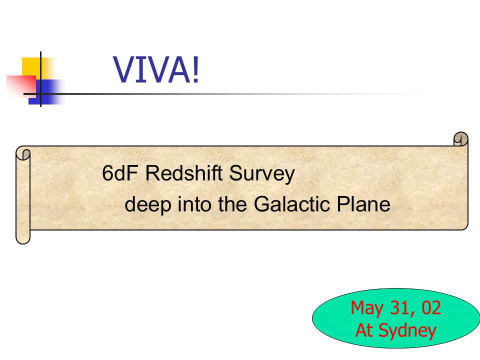 VIVA! May 31, 02 At Sydney 6dF Redshift Survey deep into the Galactic Plane